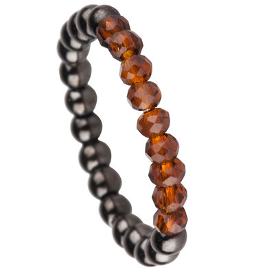 OHR177 Stretch Medium Black Steel and Brown Crystals