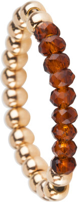 OHR169 Stretch Medium Gold Steel and Brown Crystals