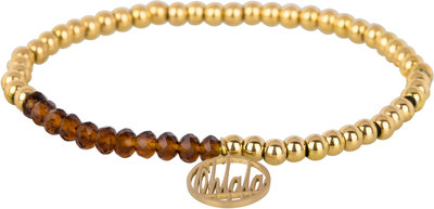 OHB39 Ohlala! Bracelet 4mm Gold and brown crystal