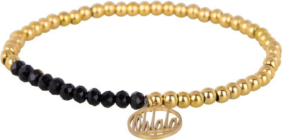 OHB33 Ohlala! Bracelet 4mm Gold and black crystal