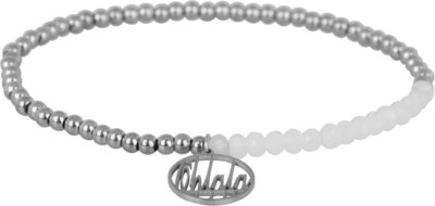 OHB17 Ohlala! Bracelet 3mm Shiny Steel and white crystal