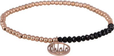 OHB22 Ohlala! Bracelet 3mm Rose Gold and black crystal