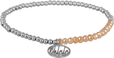 OHB23 Ohlala! Bracelet 3mm Shiny Steel and champ crystal