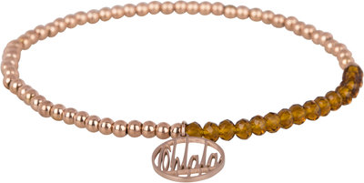 OHB28 Ohlala! Bracelet 3mm Rose Gold and brown crystal