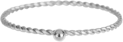 R524 Dot Twisted Ring Shiny Steel
