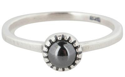 Ring R297 Hematite 'Natural Stone'