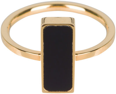 R537 Fashion Seal Rectangle Gold Steel with Black Stone