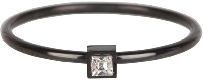 R503 Stylish Square black Steel Crystal CZ