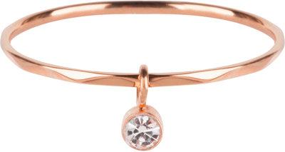 R578 Dangling Crystal CZ Rose Gold Steel