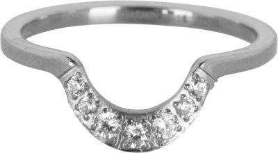 R550 Half Moon Crystal CZ Shiny Steel