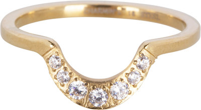 R551 Half Moon Crystal CZ Gold Steel