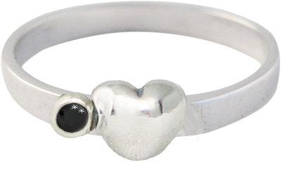 Ring KR34 'Cubic Heart and Diamond' Black
