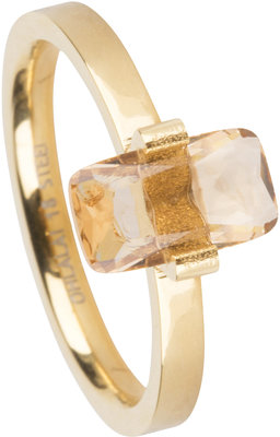 OHR145 Big Rectangle Gold Steel Topaz Stone