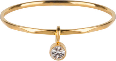 R577 Dangling Crystal CZ Gold Steel