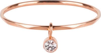 R578 Dangling Crystal CZ Rose Gold Steel