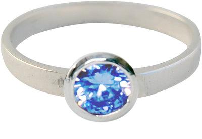 Ring KR04 'Round Diamond' Baby Blue