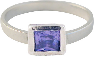 Ring KR26 'Cubic Diamond' White Purple