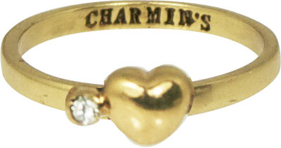 Ring KR53 'Heart and Diamond' Golden Look