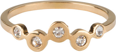 R658 Bubbels Crystal CZ Gold Steel