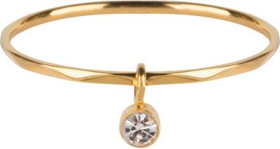 R577 Dangling Crystal CZ Gold Steel