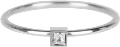 R500 Stylish Square Shiny Steel Crystal CZ