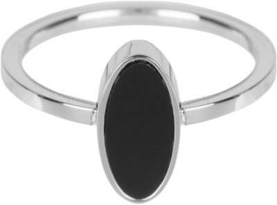 R532 Fashion Seal Oval Shiny Steel with Black Stone