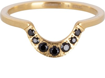 R549 Half Moon Black CZ Gold Steel