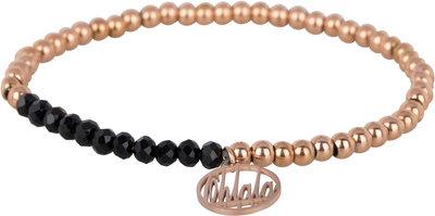 OHB34 Ohlala! Bracelet 4mm Rose Gold and black crystal
