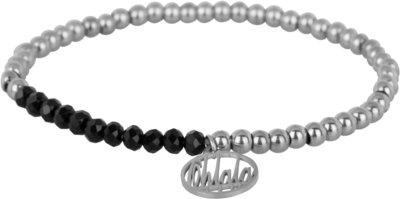 OHB32 Ohlala! Bracelet 4mm Shiny Steel and black crystal