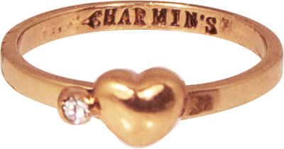 Ring KR54 'Heart and Diamond' Golden Look